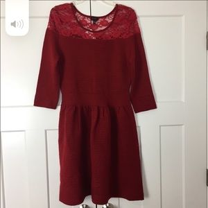 Jessica Simpson red sweater dress with lace